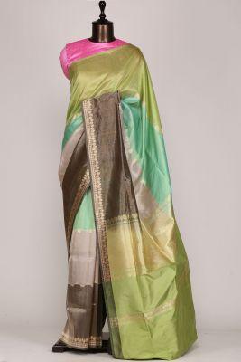 Shaded Green,Grey & Gold Zari Woven Banarasi Silk & Tissue Saree-PF2600