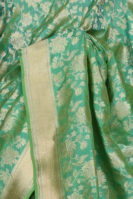 Green & Blue Dual Tone Zari Woven Banarasi Silk Saree-PF2613