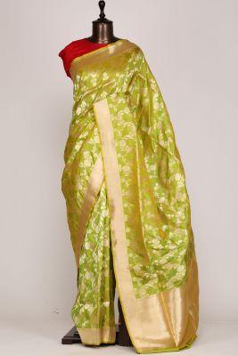Green & Yellow Dual Tone Zari Woven Banarasi Silk Saree-PF2614
