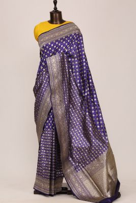 Indigo Zari Woven Banarasi Silk Saree-PF2615