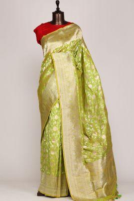 Green & Yellow Dual Tone Zari Woven Banarasi Silk Saree-PF2616