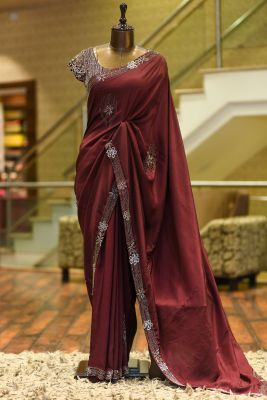 Burnt Umber Brown Cutdana Embroidered Silk Saree-PF2672