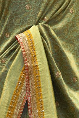 Sage Green Sequins Embroidered Tussar Silk Saree-PF2673