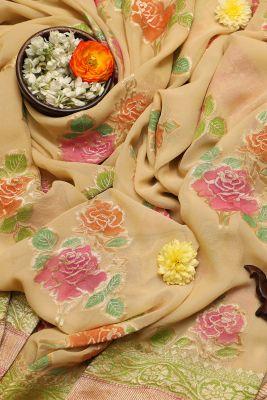Cream Zari Woven Banarasi Georgette Saree-PF2677