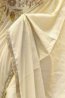 Off-White Thread Embroidered Tussar Saree-PF2806