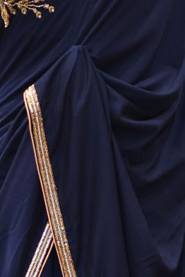Navy Blue Thread Embroidered Tussar Saree-PF2808