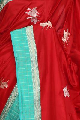 Scarlet Red Zari Woven Banarasi Silk Saree-PF2873
