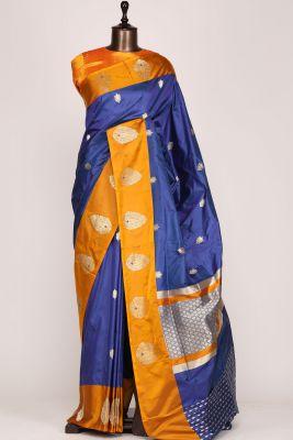 Blue Dual Tone Zari Woven Banarasi Silk Saree-PF2875