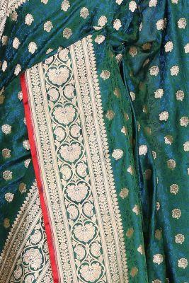 Dark Green & Blue Dual Tone Zari Woven Banarasi Silk Saree-PF2877