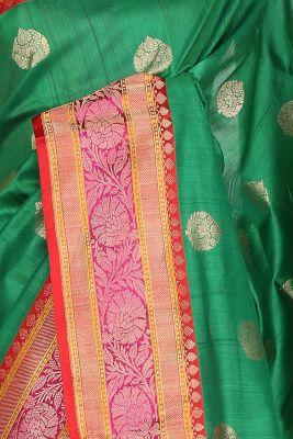 Shamrock Green Zari Woven Banarasi Tussar Silk Saree-PF2880