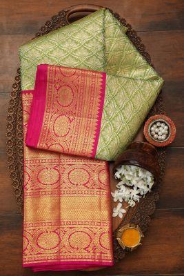 Green & Gold Dual Tone Zari woven Kanchipuram Silk Saree-PF2928