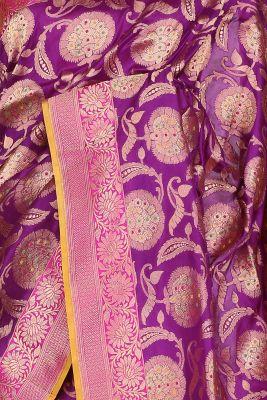 Purple Zari Woven Banarasi Silk Saree-PF2930