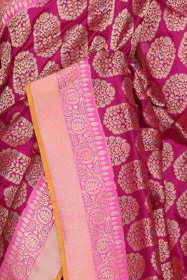 Magenta Zari Woven Banarasi Silk Saree-PF2931