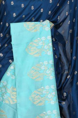 Aegean Blue Zari Woven Banarasi Silk Saree-PF2933