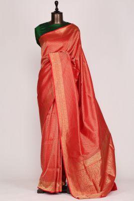 Bright Red Zari Woven Banarasi Silk Saree-PF2974