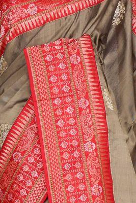 Moss Green Zari Woven Banarasi Silk Saree-PF2978