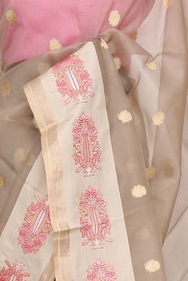 Light Grey Zari Woven Organza Saree-PF3250