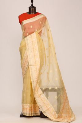 Maize Yellow Zari Woven Organza Saree-PF3265