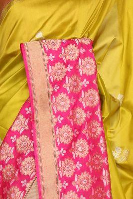 Metallic Green Zari Woven Banarasi Silk Saree-PF3409
