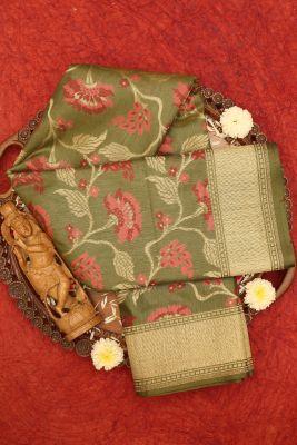 Avocado Green Zari Woven Banarasi Tussar Silk Saree-PF3412