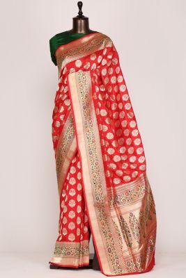Vermillion Red Zari Woven Banarasi Silk Saree-PF3425