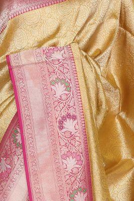 Yellow & Gold Zari Woven Banarasi Silk Saree-PF3426