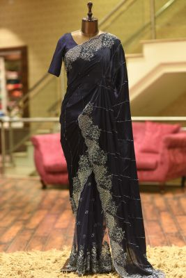 Oxford Blue Bead Embroidered Crepe & Net Saree-PF3432