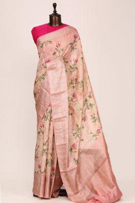 Light Pink Printed Silk Saree-PF3638
