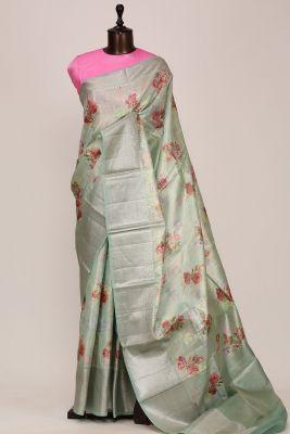 Mint Green Printed Silk Saree-PF3639