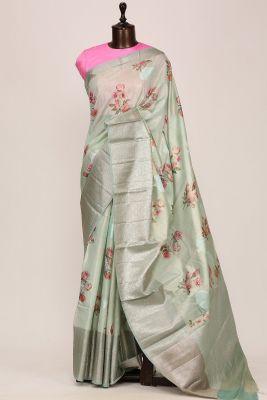 Mint Green Printed Silk Saree-PF3641