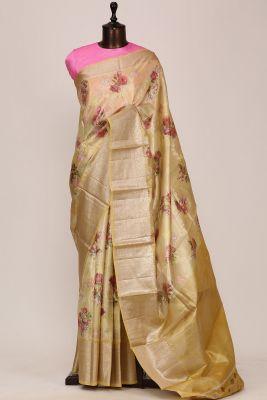 Light Yellow Printed Silk Saree-PF3642