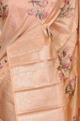 Pastel Orange Printed Silk Saree-PF3644