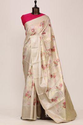 Cream Printed Silk Saree-PF3645