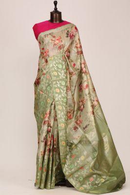 Light Green Printed Silk Saree-PF3647