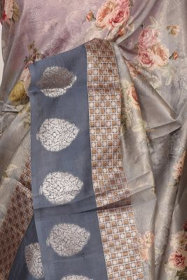 Metallic Grey Printed Silk Saree-PF3648