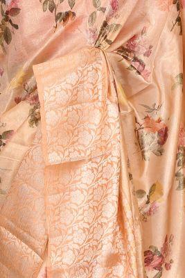 Pastel Orange Printed Silk Saree-PF3652