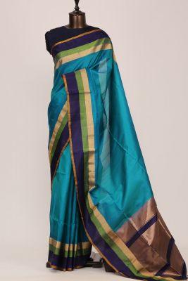 Blue & Green Dual Tone Zari Woven Silk Saree-PF3690
