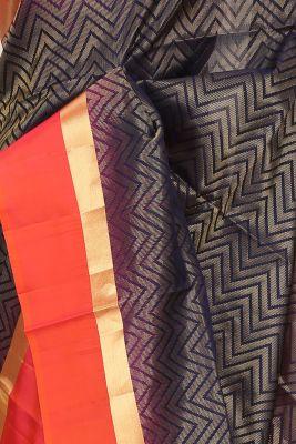 Blue & Gold Zari Woven Silk Saree-PF3741