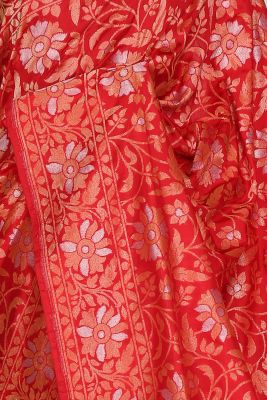Bright Red Zari Woven Banarasi Silk Saree-PG1046