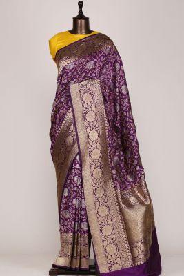 Purple & Gold Zari Woven Banarasi Silk Saree-PG1047