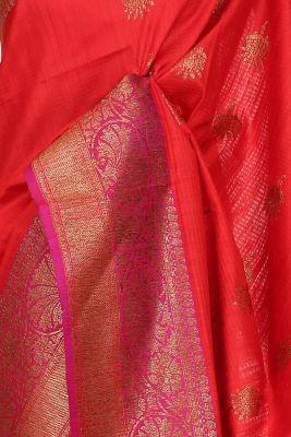 Vermillion Red Zari Woven Banarasi Tussar Saree-PG1049