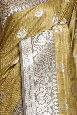 Olive Green Zari Woven Banarasi Tussar Saree-PG1056