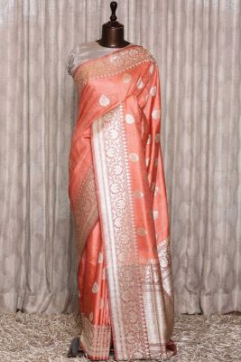 Peach Zari Woven Banarasi Tussar Saree-PG1057