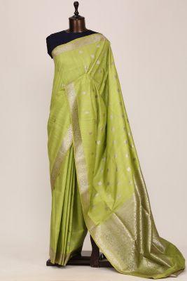 Apple Green Zari Woven Banarasi Tussar Saree-PG1059
