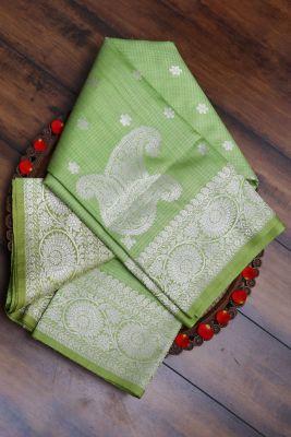 Apple Green Zari Woven Banarasi Tussar Saree-PG1061