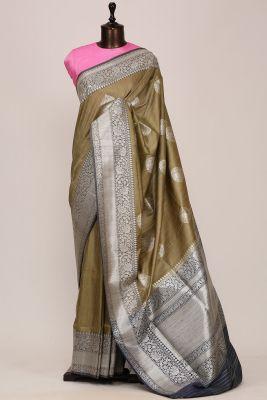 Olive Green Zari Woven Banarasi Tussar Saree-PG1064