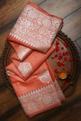 Peach Zari woven Banarasi Tussar Saree-PG1067