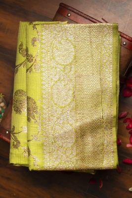 Apple Green Zari Woven Banarasi Tussar  Saree-PG1070