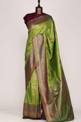 Green & Yellow Dual Tone Zari Woven Banarasi Tussar  Saree-PG1072