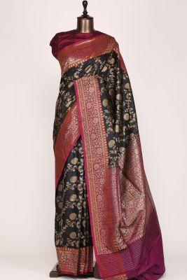 Black Zari woven Banarasi Tussar Saree-PG1074